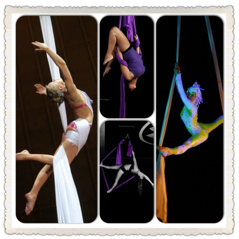 Aerial silks collage